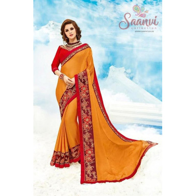 Classy Embroidered Orange And Red Saree