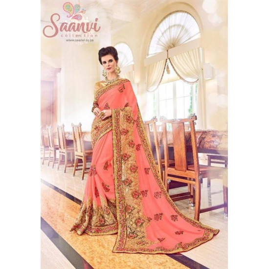 Outstanding Floral Embroidered Saree
