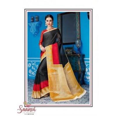Black And Gold Silk Saree